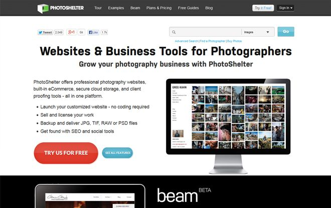 Photoshelter website for photographers